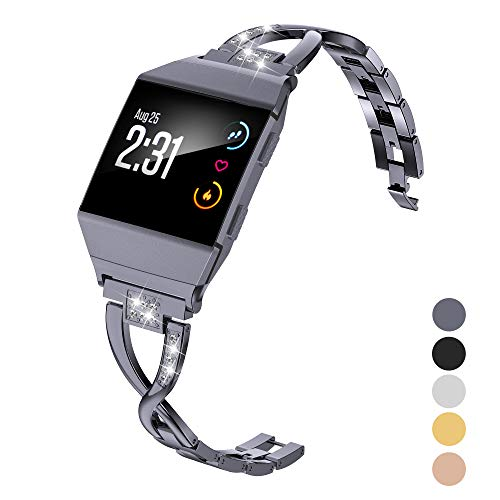 Wearlizer Bling Band Compatible for Fitbit Ionic Bands Women, Metal Bling Replacement Bracelet with Diamond X-Link Compatible Fitbit Ionic Small Large (Grey1)