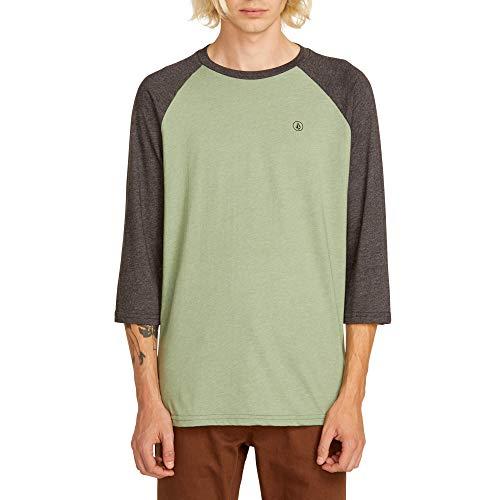 Volcom Men's Solid Heather 3/4 Sleeve Raglan Shirt, Dusty Green X-Large ()