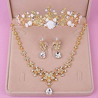 Quantity 1x new_ gold Crown Tiara Party Wedding Headband Women Bridal Princess Birthday Girl Gift Headdress _three_piece_ set necklace earrings Wedding Hair Wedding _
