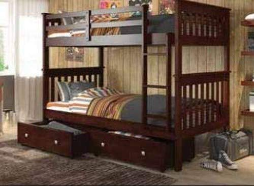 Donco Kids Mission Bunk Dual Under Bed Drawers, Twin/Twin, Dark Cappuccino (Bed Bunk Drawers With)