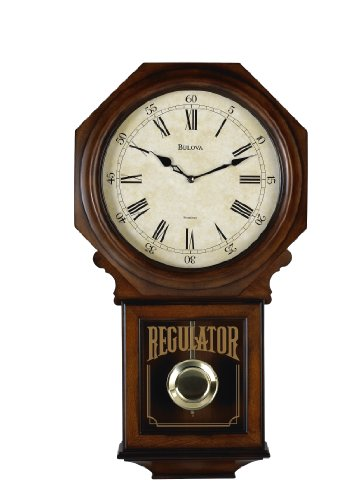Bulova C3543 Ashford Old World Clock, Walnut Finish (Regulator Glass Clock)