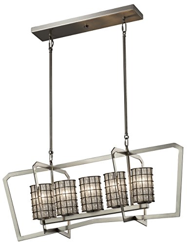 Justice Design Group Lighting WGL-8015-10-GRCB-CROM Aria 5-Light Chandelier-Polished Chrome Finish with Wire Cage and Blown Glass Grid with Clear Bubbles-Cylinder with Flat Rim - Chandelier Aria 10 Light