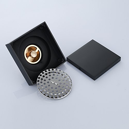 Bathroom 4 inch solid brass black invisible floor drain squa