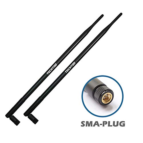 TECHTOO 9dBi WiFi Antenna with SMA Male (SMA-Plug) Connector Compatible W/Foscam Anran Haloview IP Camera & Other Wireless Security Camera Antenna - 2.4Ghz Wireless Networking Device(2-Pack)