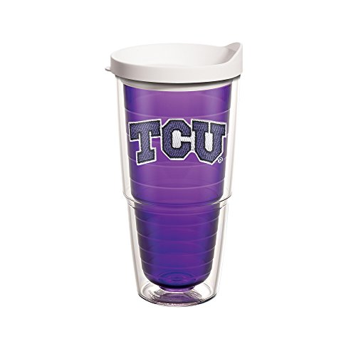 Tervis 1101337 TCU Horned Frogs Logo Tumbler with Emblem and White Lid 24oz, Amethyst - Tumbler Frog