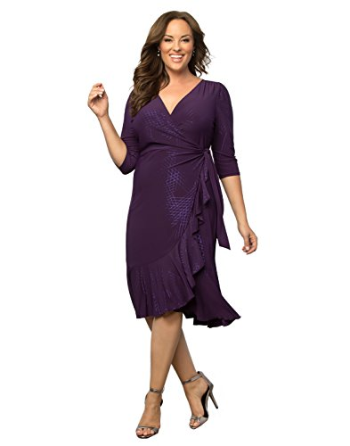 Kiyonna Women's Plus Size Whimsy Wrap Dress 3X Sugar Plum (Sugar Plum Dress)