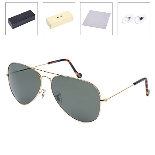 O-LET Large Polarized Aviator Sunglasses for Women/Men Cycling/Fishing with Glass Polarized Lens - Polarize To Your Sunglasses How