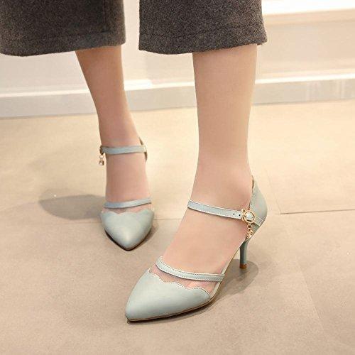 Carolbar Mujeres Elegance Sweet Buckle Malla Voile Mesh Punta Estrecha High Stiletto Heel Nupcial Vestido Sandalias Azul