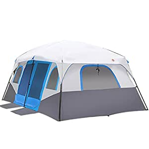 Large Family Camping Tents Waterproof Cabin Outdoor Tent for 8 10 12 Person Event Marquee Tents (Blue)