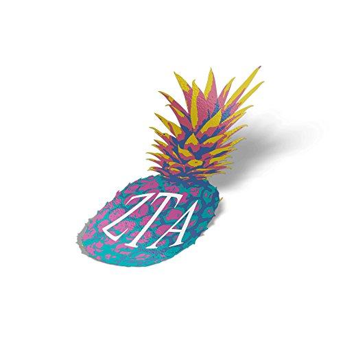 Zeta Tau Alpha ZTA Pop Art Pineapple Sticker 5 Inch Tall Sorority Decal Greek Letter for Window Laptop Computer Car