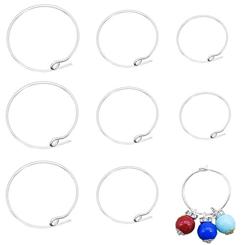 UPC 747880551276, BronaGrand 150 Pieces Silver Plated Wine Glass Charm Rings Earring Hoops 3 Sizes,30mm,25mm,20mm