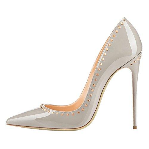 EKS - Zapatos de tacón alto con remaches Mujer Grau-12cm