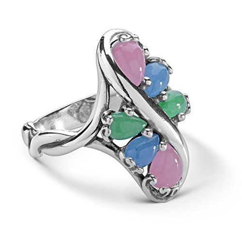 Carolyn Pollack Sterling Silver Green, Blue and Pink Jade Gemstone Cluster Ring Size 10