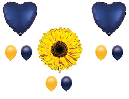 Navy Blue Sunflower Balloon Happy Birthday Decoration Supplies Summer Butterflies Bees -