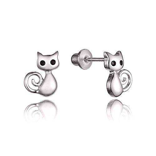 Cat Earrings Sterling Silver Purple Cubic Zirconia Stud Earrings Gifts for Cat Lovers Women Girls nNsxt1aa