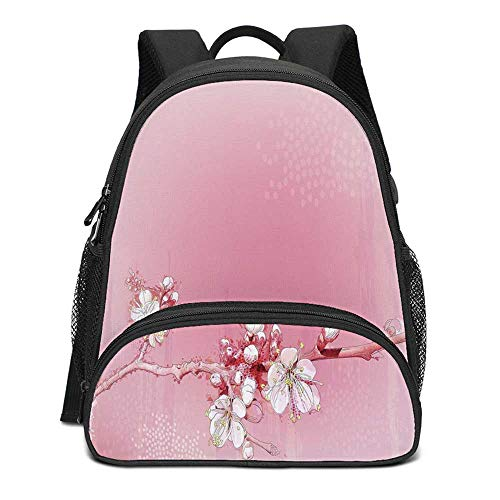 Peach Durable Kids Backpack,Japanese Inspired Cherry Blossom Branch Sakura Flowers in Soft Colored Spring Time Decorative for School Travel,10