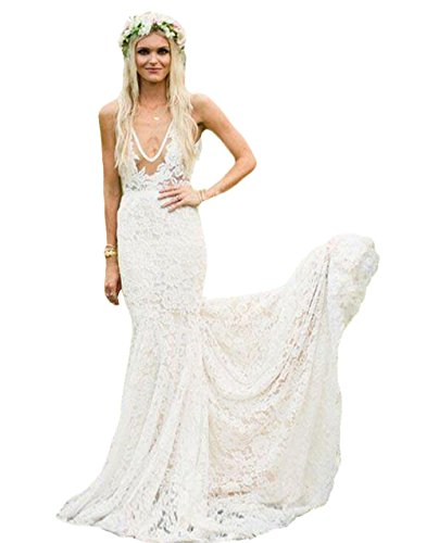 Country Style Mermaid Lace Long Sleeves Ivory Wedding Dresses 2018 Vintage Vestido de Novia Boho Wedding Gowns US8