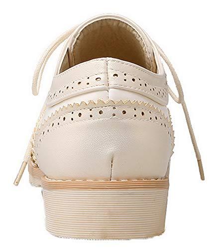 Chiusa AllhqFashion Allacciare Tacco Punta FBUIDD006805 Ballet Pelle Flats Beige Donna Basso rYxYwCBqP