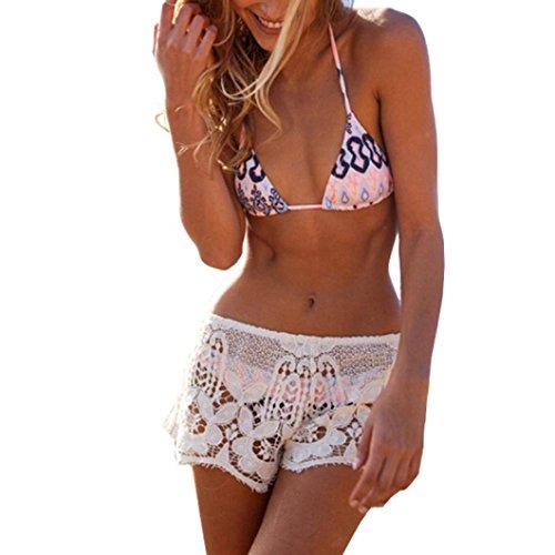 Lace Short Pants (Women Beach Lace Shorts, Misaky Sexy SummerCasual Crochet Hot Pants (M, White))