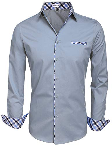 HOTOUCH Mens Dress Shirt Slim Fit Long Sleeves Cotton Button Down Shirts Light Grey XXL