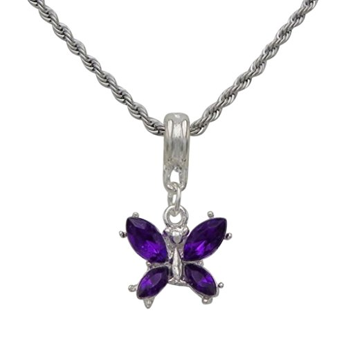 Rosemarie Collections Women's Purple Butterfly Charm Pendant - Palm Stores Springs Department