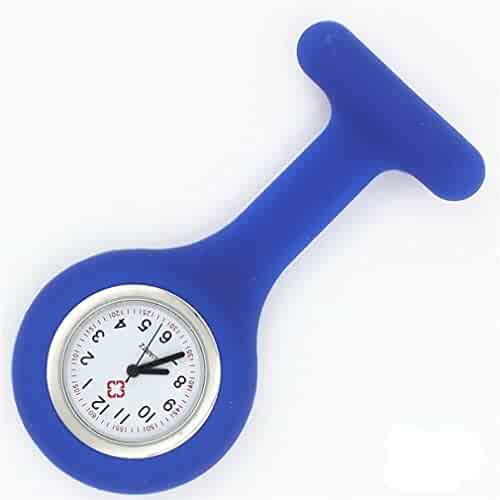 NEW Silicone Quartz Movement Nurse Brooch Fob Tunic Pocket Watch Deep Blue