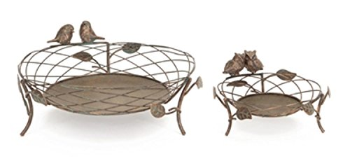 Melrose Pack of 2 Antique-Style Bronze Birds and Owls Pillar Basket Candle Holders 12'' by Melrose