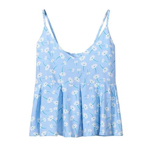 Sexyville Camisole Femmes Casual Sans Manches Mode Dbardeur Fleurs Impression Tops Gilet Bleu