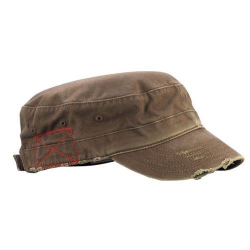Mega Cap Cotton Distressed Washed Cadet Cap (Brown)