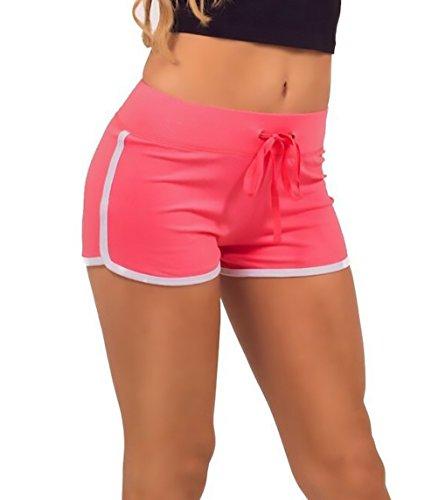 Pantaloni Corti Donna Grazioso Moda Shorts Vita Alta Ragazze Estate Tempo Libero Sport Pantaloncini Casuale In Esecuzione Yoga Formazione Pantaloncini Yoga Pants Pink