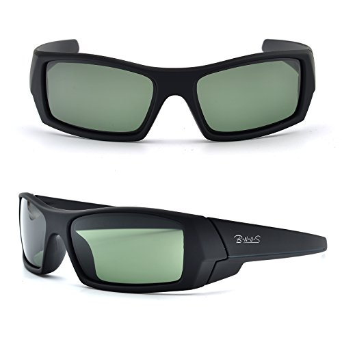 Bnus Italian made Corning natural glass lens polarized Sports sunglasses for men (Frame: Matte Black - Grey L / Lens: Green G15, - L B Sunglasses