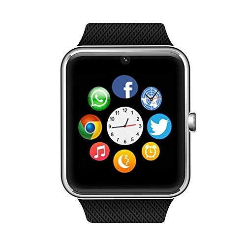 ANCwear Bluetooth Smart Watch with SIM Card Slot for IOS iPhone, Android Samsung HTC Sony LG Smartphones Silver-Black by Enke