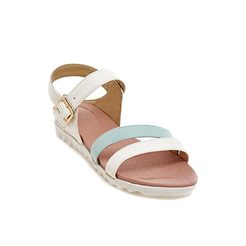 AllhqFashion Women's Open Toe Buckle Pu Assorted Color Low Heels Wedges-Sandals Blue uEEGUX