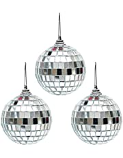 3 pcs 3.2 Inch Disco Mirror Balls with Fastening Strap Silver Hanging Ball for Party Christmas Ornaments Xmas Tree Home Decoration DJ Light Effect Dance and Music Festivals