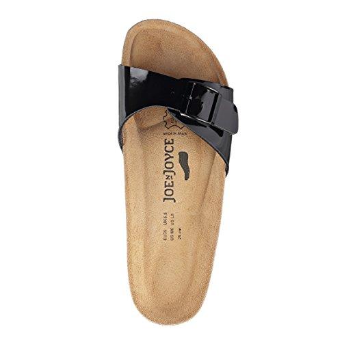 JOE N JOYCE Porto SynSoft Suelo blando sandalias estrecho Black Patent
