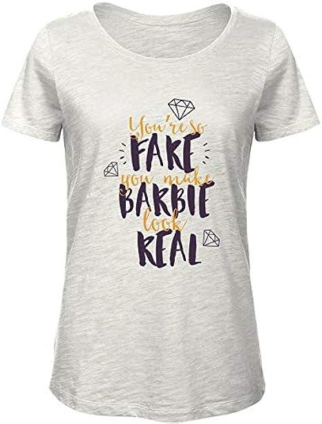 T-Shirt para Las Mujeres Premium Blanca EPS0801 You Are SO Fake You Make Barbie Look Real: Amazon.es: Ropa y accesorios