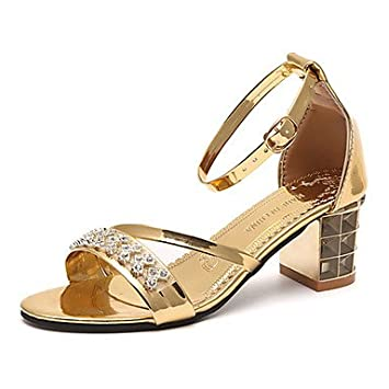 LvYuan-ggx Damen High Heels Komfort Pumps PU Sommer Normal Kleid Walking Komfort Pumps Glitter Schnalle Blockabsatz Gold Weiß Schwarz 7,5 - 9,5 cm , black , us5.5 / eu36 / uk3.5 / cn35