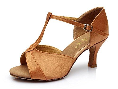 Hauts Marron5cm Sandales Samba De Eu40 Talons T fr6 Jazz Chaussures Chacha Danse Pour Moderne Tango Our41 strap 5 Femme Talon Salsa Jshoe BwZOTxqq