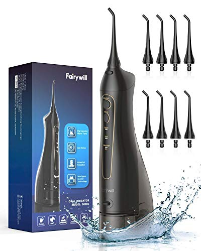 Water Flossers for Teeth, Fairywill 300ML CordlessDentalOralIrrigator, 3 Modes and 8 Jet Tips, IPX7 Waterproof, USB Charged for 21-Days Use, Oral Irragator for Travel, Office
