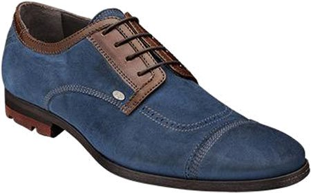 Bacco Bucci Heren Valle Casual Oxford Blauw / Bruin Suede / Kalf