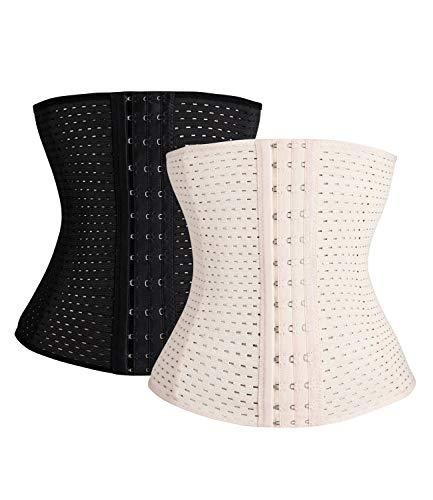 (SEXYWG Waist Trainer Cincher Tummy Slimmer Breathable Shapewear Girdle LongTorso, Black+apricot, L(waist 29-31.5 Inch) )
