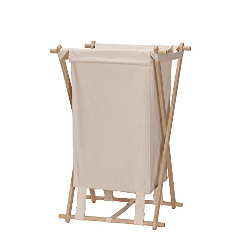 Household Essentials 6785-1 Collapsible Wood X-Frame Laundry Hamper with Fold Over Lid