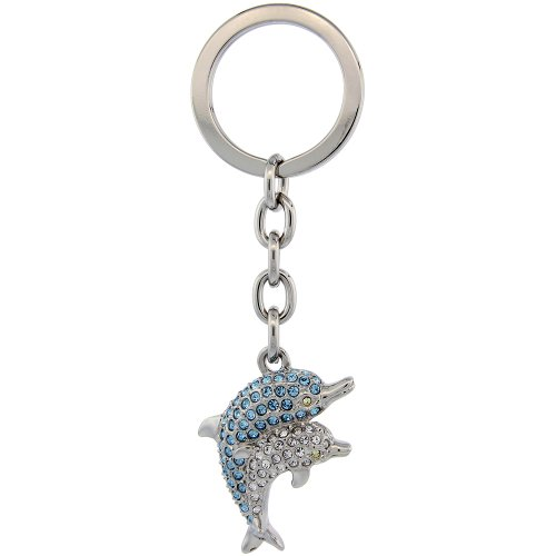 Double Dolphin Key Chain, Key Ring, Key Holder, Key Tag , Key Fob, w/ Clear & Blue Topaz-color Swarovski Crystals, 3-3/4