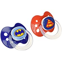 Playtex Baby Binky Orthodontic Silicon BPA-Free Pacifiers, 6+ Months, Superfriends, Pack of 2 Pacifiers