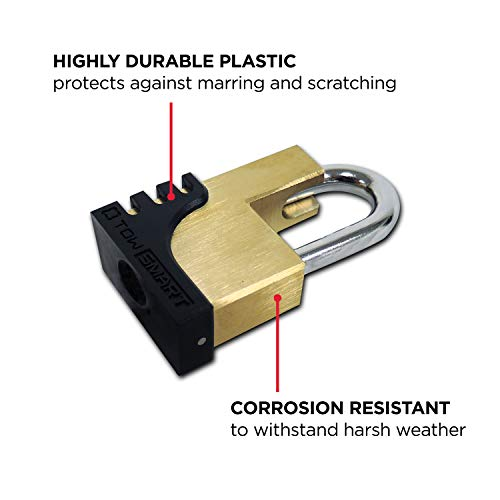 TOWSMART Coupler Anti-Theft Lock Kit – with Chrome Coupler Lock, Boomerang Hitch Pin, Brass Coupler Lock, 4 Keys – Secures Trailer in Tow and Protects Unhitched Trailer from Theft
