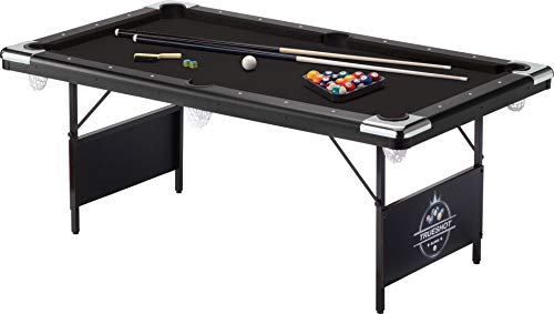 Fat Cat Trueshot 6' Pool Table with Folding Legs for Easy Storage, Included Pool Cues and Billiard Ball, and Deep Black Playing -