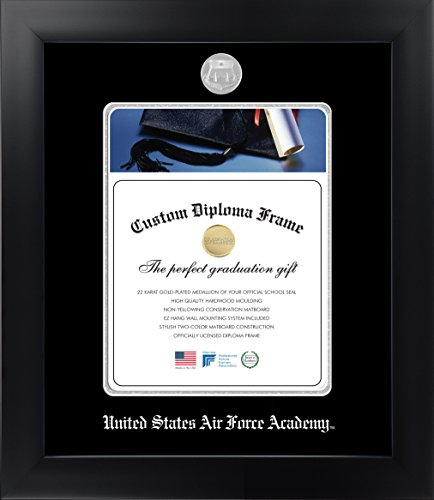 Celebration Frames United States Air Force Academy 11 x 8½ Matte Black Finish Infinity Diploma Frame by
