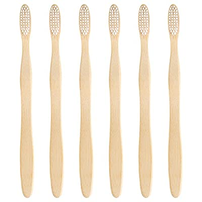 Bekith Eco-Friendly Bamboo Toothbrushes with Case/Holder Adult Size - 6 Nylon Bristles Brushes, 1 Holding Cup
