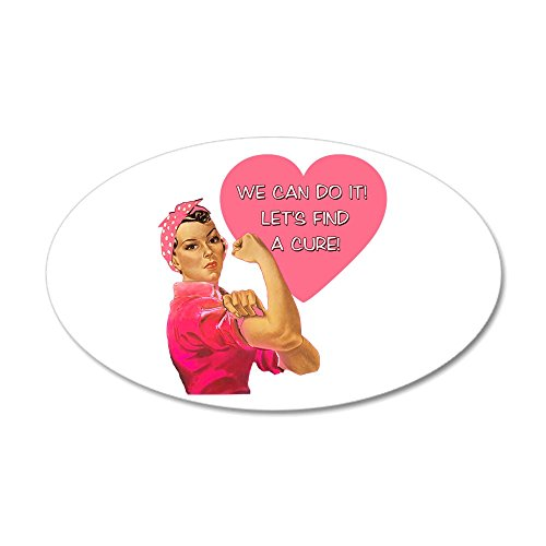 CafePress - Rosie The Riveter Breast Cancer 38.5 X 24.5 Oval W - 35x21 Oval Wall Decal, Vinyl Wall Peel, Reusable Wall Cling