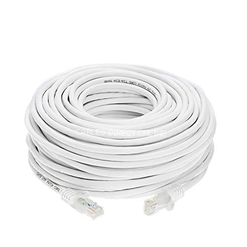 - Cat5e 50FT Networking RJ45 Ethernet Patch Cable Xbox \ PC \ Modem \ PS4 \ Router - (50 Feet) White